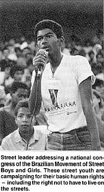 Street leader addressing a national congress of the Brazilian Movement of Street Boys and Girls. These street youth are campaigning for their basic human rights -including the right not to have to live on the streets.