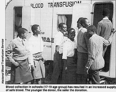 Blood collection in schools (17-19 age group) has resulted in an increased supply of safe blood. The younger the donor, the safer the donation.